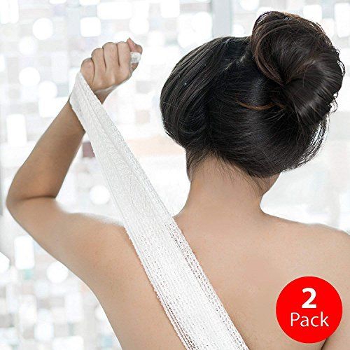 KUMA Soft Exfoliating Washcloth & Towel: Wash & Scrub Your Body - Cloth for Bath & Shower - Japanese Design & Made - Organic & Sustainable [Double Pack: Sky Blue & Natural White]