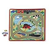 "Melissa & Doug Round the Town Road Rug & Car Set (Cars & Trucks, Safe for All Floors, 4 Wooden Cars, 36"" W x 39'L)"