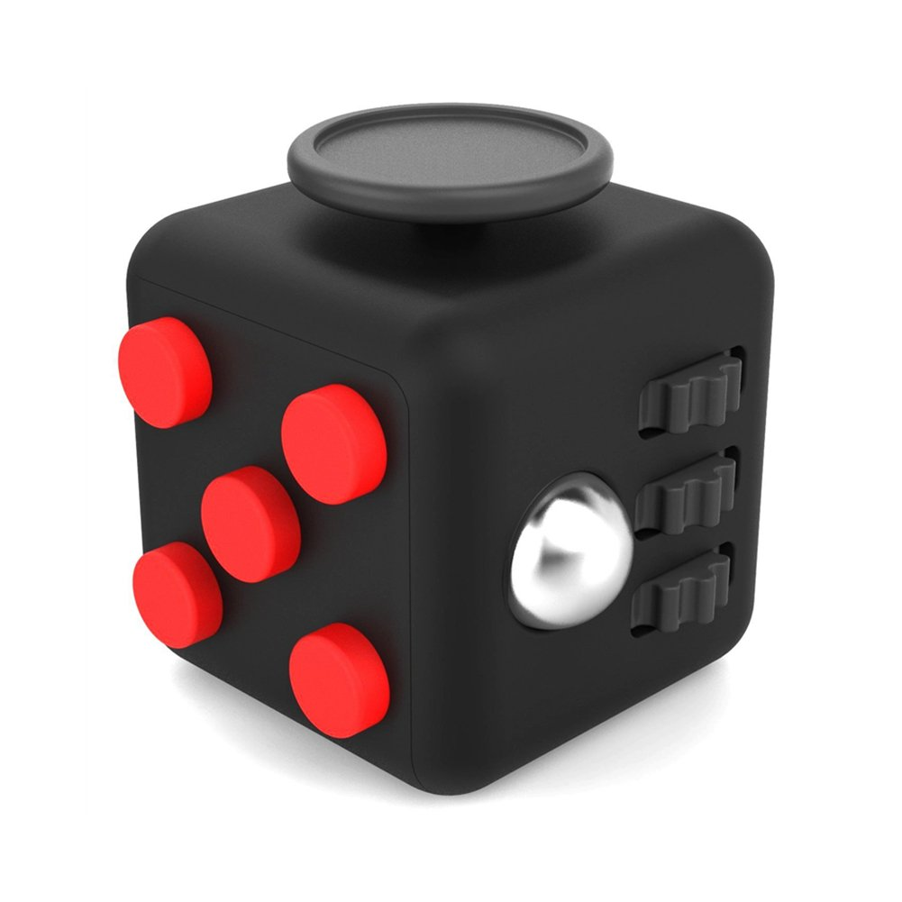 Amteker Fidget Cube Fidget Toy Anxiety Attention Stress Relief, and Break Nervous Habits for Children and Adults (Black and Red)