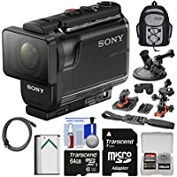 Sony Action Cam HDR-AS50 Wi-Fi HD Video Camera Camcorder with 64GB Card + Battery + Backpack + Helmet, Suction Cup & Dashboard Mounts + Kit