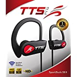 TTS Pro New 2018 Waterproof Sport Bluetooth Headphones Sport Buds 56 Wireless Sport Earphones Earbuds Stereo High Definition Sound Buds, Smartphone Compatible, Great for Gym Running 7 Accessories, Red