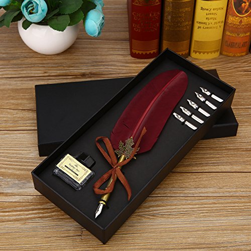 Vintage Feather Quill Dip Pen Ink Set Writing Quill Ink Pen Metal Nibbs Calligraphy Feather Pen Gift Set for Wedding Christmas (Wine Red) (Set Quill Pen)