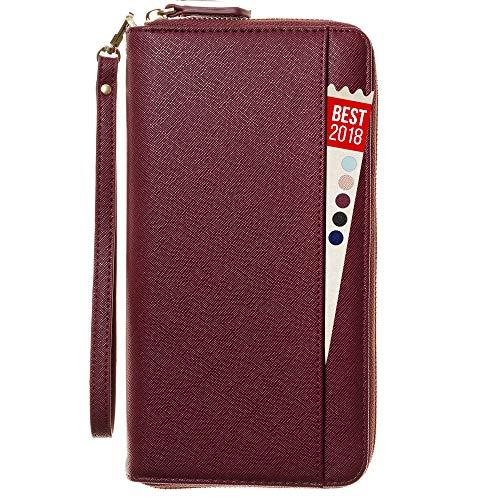 Travel Document Organizer - RFID Passport Wallet Case Family Holder Id Wristlet (Red Wine)