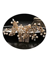 Bridal Wedding Hair Combs by AmDxD,Bridal Wedding Headpiece for Brides Flower Beads Crystals