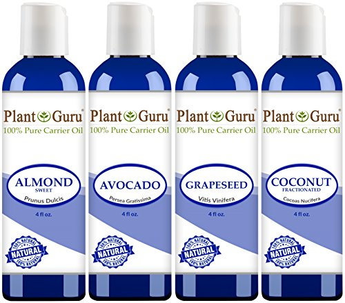 Set 4 oz - Cold Pressed 100% Pure Natural, Almond, Avocado, Coconut Fractionated, Grapeseed. For Aromatherapy, Essential Oils, Skin and Hair Moisturizer. Perfect for Body Massage. ()