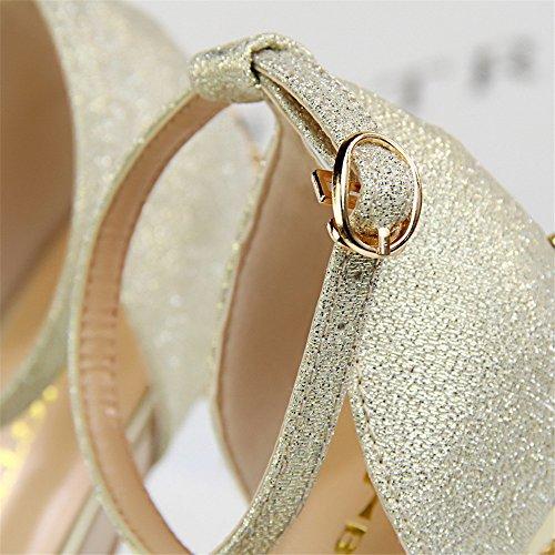z&dw El metal atractivo con los altos talones del satén boca hueco de los pescados con los zapatos de boda de las sandalias Oro (pu)