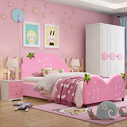 Costzon Toddler Bed, Twin Size Upholstered Platform Bed, Kids Bed w/Wood Frame Velvet Surface Adjustable Feet for Boys & Girls, Children Classic Sleeping Bedroom Furniture (Strawberry Design)