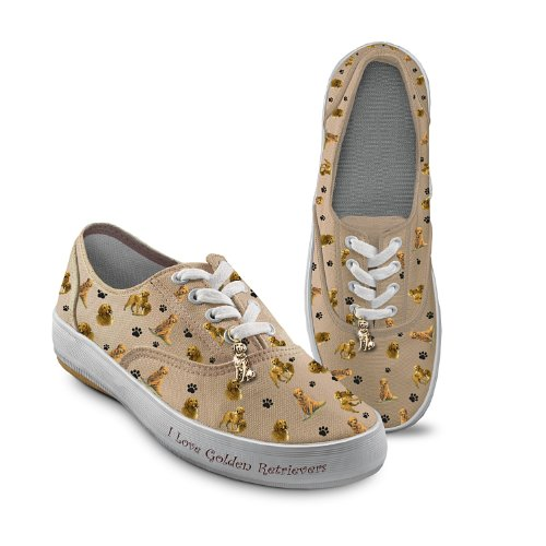 Golden Retriever Dog Breed Women's Sneakers: Playful Pups...