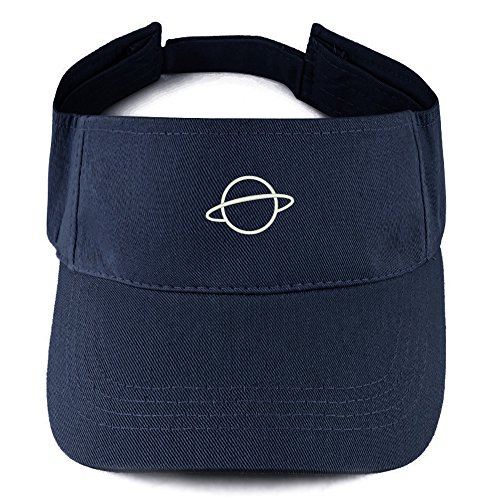 Trendy Apparel Shop Planet Logo Embroidered 100% Cotton Adjustable Visor - Navy (Cotton Embroidered Visor)