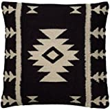 Rizzy Home T05808 Woven Southwestern Patten Decorative Pillow, 18 by 18-Inch, Black