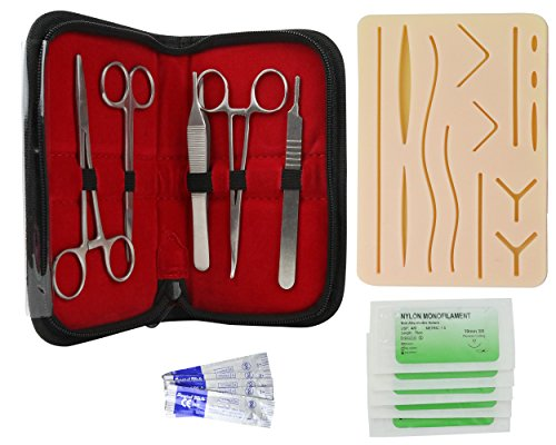 Laporte Medical Complete Suture Practice Kit, Suturing Training for Veterinarian, Nurse, EMT | Silicone Wound Pad, Scalpels, Needles, Thread, Forceps, Scissors, More by Laporte Medical