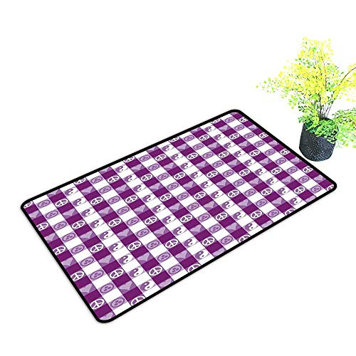 (Modern Door mat Plaid Plaid Pattern with Hearts Ying Yang and Sign of Peace Pax Cultura Theme W16 xL20 Non-Slip Door mat pad Machine can be Washed Magenta Lavender White)