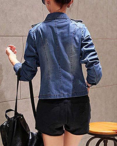 Fit Lunga Cappotto Corto Donne Casual Slim Denim Bavero Primaverile Eleganti Jeans Manica Blau Autunno Jacket Donna Outerwear Giacche Cerniera Fashion Vintage Con Classiche EqCwn1Xpw