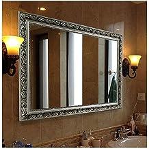 "Rectangular Wall Mounted Mirror (38""x26"", Silver)"