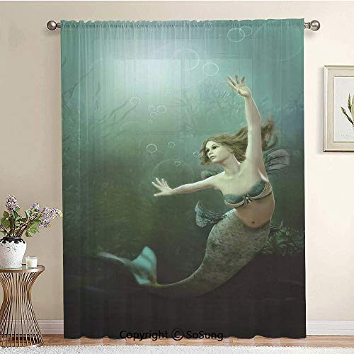 (Computer Graphics of Mermaid Underwater Life Picture Dreamlike Design Extra Wide Sheer Window Curtain Panel for Large Window,Sliding Glass Door,Patio Door,1 panel,102 x 84 Inch,Jade Green Teal Ivory)