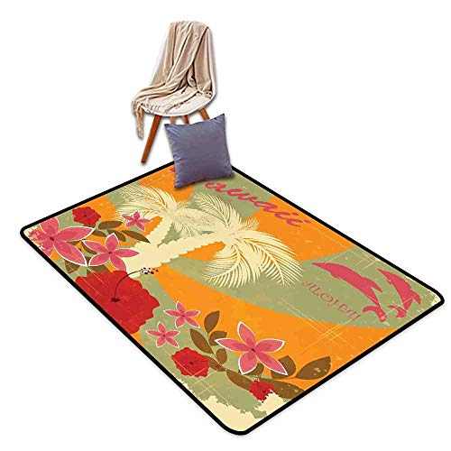 (Door Rug for Internal Anti-Slip Rug Hawaiian Aloha Vintage Print Colorful Swirl Backdrop Dolphins Palm Trees Flowers Personality W59 xL71 Marigold Reseda Green)