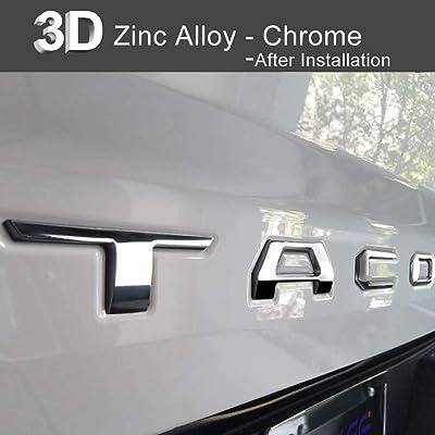 Aukee Tailgate Letters for Toyota Tacoma 2016 2020 2020 2020 Emblem Inserts 3D Raised Metal (Chrome): Automotive