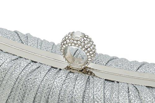 Womens Handbag Crystal With Wedding Clutch Gold Strap Evening Studded Pleated Bridal ChilMo Bags Satin 5CXnBqPXIw