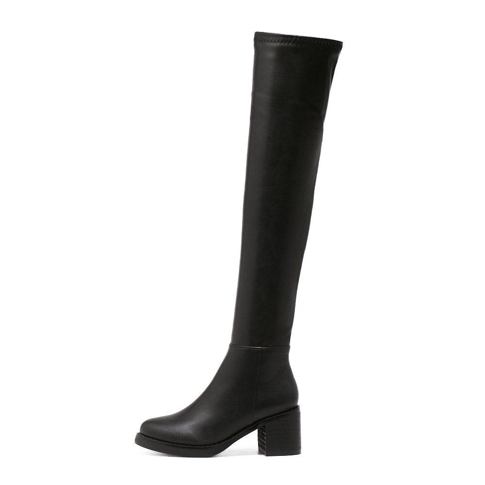 NSXZ Donna 's , stivali lunghi GAOTONG ginocchio tratto semplice nero , 's 36 BLACK-36 7a31b9