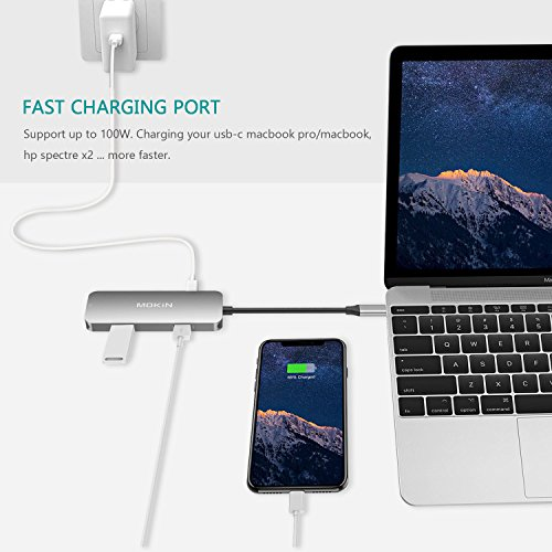 USB C HDMI Adapter for MacBook Pro 2018/2017/2016, 6 in 1 USB-C to HDMI Output, SD+MicroSD Card Reader and 2-Ports USB 3.0 with USB-C Power Pass-Through Port by MOKiN (Image #5)