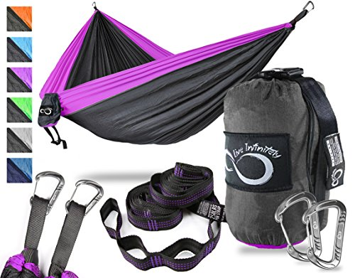 Double Camping Hammock- Best Lightweight & Portable Two Person Hammock Set –Aluminum Wiregate Carabiners, 2- 16 Loop Tree Straps & Compression Strap- Holds 500 LBS -Ideal for Travel- Purple ()