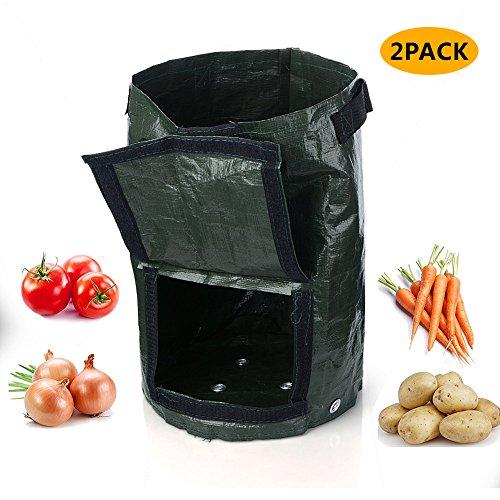 Potato Tubs - Potato Grow Bag,7 Gallon Waterproof Garden Planter Bag, Eco-Friendly Vegetables Plant Tub - Heavy Duty Holder for Potato, Carrot, Tomato, Onion etc. 2 Pack