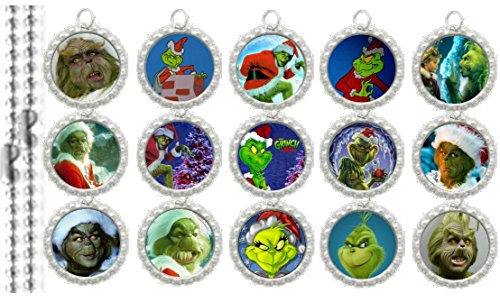 15 The Grinch Silver Bottle Cap Pendant Necklaces Set 2 (Set Pendants Bottle Cap)