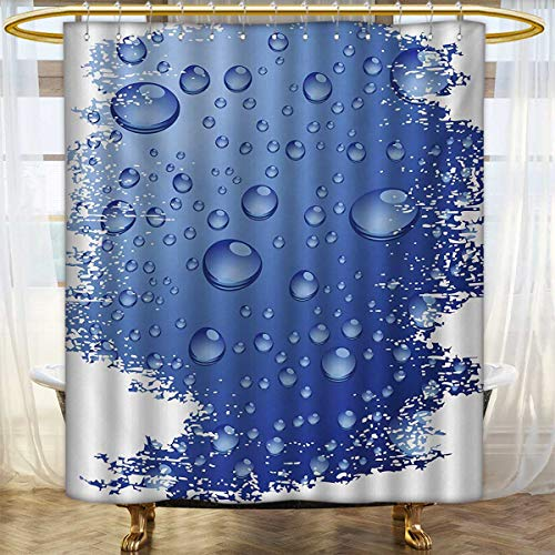 - lacencn Grunge,Shower Curtains with Shower Hooks,Wet Surface Inspired Bubble Water Rain Drop Crystals Freshness Symbol Artsy Design,Satin Fabric Sets Bathroom,Violet Blue,Size:W72 x L78 inch