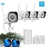 Zmodo 720p HD Outdoor Home Wireless Surveillance Video Camera System (4 Pack) with Zmodo Beam and 2 Pack Door/Window Sensors