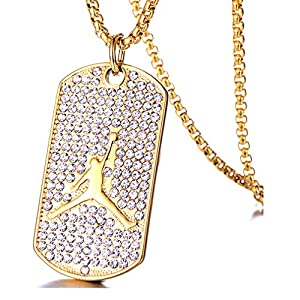 Mgutillart Hip Hop 18K Gold Plated Titanium Steel Crystal Basketball Dog Tag Pendant Necklace
