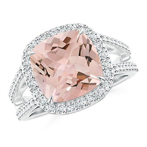 Cushion Morganite Split Shank Ring with Diamond Halo in Platinum (10mm Morganite) -
