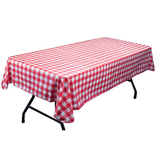 Red and White Vinyl Table Cloth with Flannel Backing by Pudgy Pedro's Party Supplies (Gingham Vinyl Tablecloth)