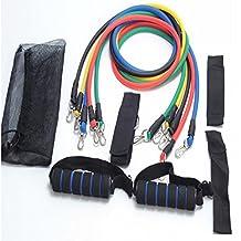 11Pcs/Set Natural Latex Exercise Tubes Elastic Training Pull Rope Fitness Resistance Bands Yoga Pilates Workout Cordage (A002)