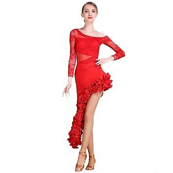 XIAOY Profesional Falda de Danza Latino Latin Moderno Baile ...