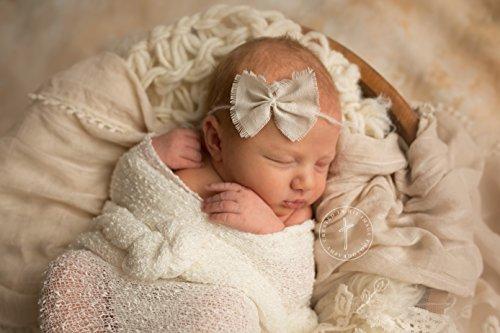 Ivory Mohair Tieback Headband, Photography Prop, Newborn, Toddler, Child, Adult (Linen Bow) ()