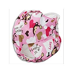 Happy Flute Pink Monkey Printed Reusable One Size Pocket Diapers