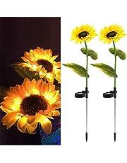 2pcs Solar Garden Stake Lights, Solar Sunflower Lights Sunflower Solar Pathway Lights Waterproof Led Lamp, Solar Landscape Lights for Lawn Patio Yard Garde
