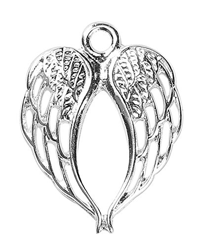 Angel Wings Charms by JGFinds, 30 Pack, Silver Tone 7/8 inch ()