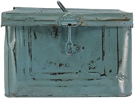 Caja Metálica Decorativa Estilo Industrial Vintage color Azul, 23 x 23 x h16 cm - FRANCISCO SEGARRA: Amazon.es: Hogar