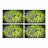InterestPrint Hummingbird Small Bird Animal Wildlife Floral Flower Placemat Table Mats Set of 4, Heat Resistant Place Mat for Dining Table Restaurant Home Kitchen Decor 12x18