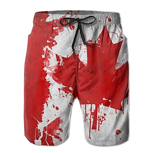 Man Summer Canada Canadian Flag Art Quick Dry No Mesh Lining Beach Shorts (Canada Fit Shorts)