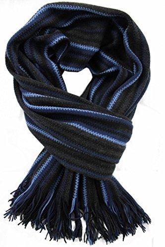 Rotfuchs Scarf - knitted striped 100% wool (Merino)