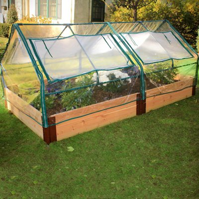 Frame-It-All-One-Inch-Series-4ft-x-8ft-x-12in-Cedar-Raised-Garden-Bed-Kit-with-Two-Greenhouses
