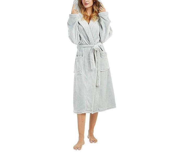 Women s Hooded Thick Robes Plush Cashmere Bathrobe Plush Kimono Sleepwear  Nightgown Winter Robes b9452d2cc