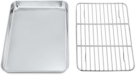 teglia e griglia in acciaio INOX sano e non tossica antiruggine e facile da pulire/ 20/x 26/x 2.5/cm Teamfar mini teglia da forno con griglia di raffreddamento /lavabile in lavastoviglie