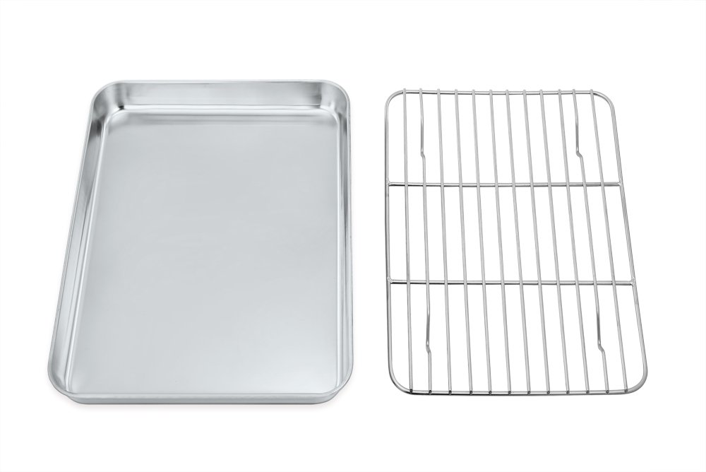 Toaster Oven Tray and Rack Set, P&P Chef Stainless Steel Broiler Baking Pan with Cooling Rack, Rectangle 8''x10''x1'', Non Toxic & Dishwasher Safe by P&P Chef