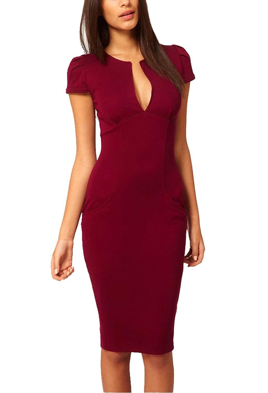 BININBOX Damen V-Ausschnitt Abendkleid Sexy Elegant Etuikleid Casual ...