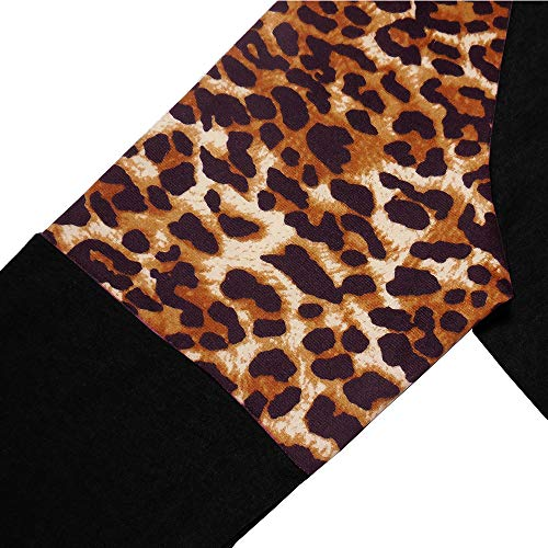 ZC&GF Women's Long Sleeve Shirts Round Neck Blouse Leopard Printed Casual Loose Patchwork T-Shirts