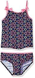 Osh Kosh Toddler Girls\' Dot Floral Tankini Swimsuit Set, Navy/Pink, 4T