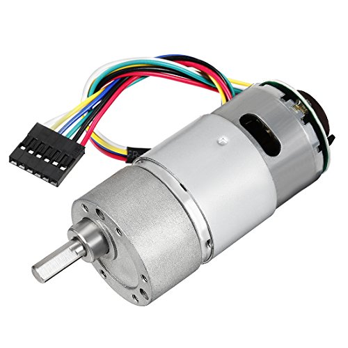uxcell Gear Motor with Encoder DC 12V 200RPM Gear Ratio 30:1 D Shaft Metal Encoder Gear Motor Silver 37Dx71L mm for Robot RC Car Model DIY Engine Toy